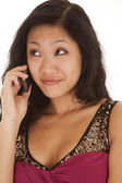 Asian woma phone small smile — Stock Photo