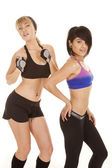 Two women posing fitness attire — Stock Photo
