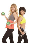Two women work out back to back — Stockfoto