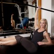 Stock Photo: Womgym sit legs up bar up