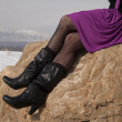 Woman legs boots rock — Stock Photo #22709163