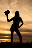 Silhouette woman hold up one book sunset — Stock Photo
