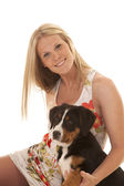 Woman flower dress dog smile — Stock Photo