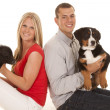 Couple and some animals — Stock Photo