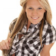 Cowgirl black plaid smile — Stock Photo