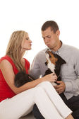Couple sit funny expression animals — Stock Photo