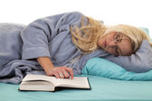 Laying asleep bed — Stock Photo