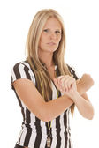 Woman referee arms crossed serious — Stock Photo