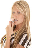 Woman referee head whistle mouth — Stock Photo