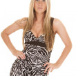 Woman zebra dress black hat hands hips — Stock Photo