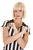 Woman blond ref arms crossed serious — Stock Photo