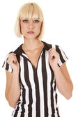 Referee woman hold collar — Stock Photo