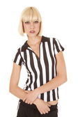Referee woman hands down serious — Stock Photo
