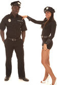 Man and woman cop she flirting — Stock Photo