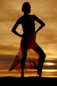 Silhouette of a woman in dress on toe — Stock Photo