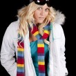 Woman white coat scarf serious — Stock Photo #29125977