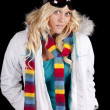Woman white coat scarf serious — Stock Photo