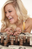 Woman with lots of money look side — Stock Photo