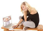Woman envious of woman on computer — Stock Photo