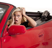 Woman car ready to crash — Stock Photo