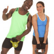 Man and woman fitness her more weight — Stock Photo