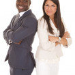 Business man and woman stand back to back smile — Stock Photo #29385247