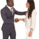 Business man and woman shake — Stock Photo #29386245