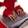 Christmas Girl Using Laptop — Stock Photo