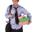 Business man talking on the phone that is tired after work carring gifts. — Stock Photo
