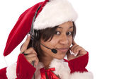Santa's helper keeping in touch — Stock Photo