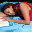 Sleeping and studying — Stock Photo