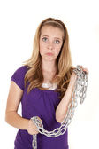 Girl sad chain — Stock Photo