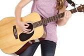 Guitar up close play — Stock Photo