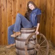 Woman barrel and wagon wheel — Stock Photo
