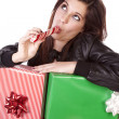 Enjoying peppermint stick — Stock Photo