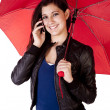 Woman Looking Forward With Phone Umbrella — Stock Photo