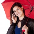 Woman Umbrella Phone Forward Looking — Stock Photo