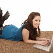 Woman floor laptop smile — Stock Photo #29583405