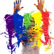 Artist painting hands up — Stock Photo