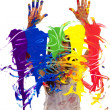 Artist painting hands up — Stock Photo #29583969
