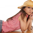 Stock Photo: Cowgirl bench elbows