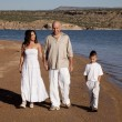 Family walk beach white — Stok fotoğraf