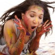 Laying in paint shocked — Stock Photo