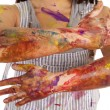 Paint on arms — Stock Photo