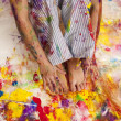 Paint on hands and feet — Stock Photo