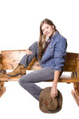 Woman on bench smiling — Stock Photo