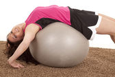 Woman fitness ball back happy — Stock Photo