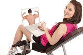 Vrouw fitness gelukkig scherm — Stockfoto