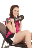Woman pink tank top weights — Stock Photo