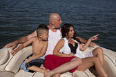 Family boat bow point and look — Stock Photo